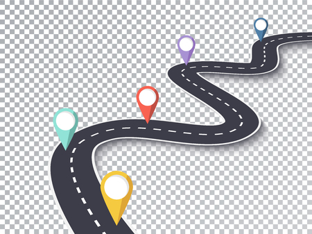 Winding Road Isolated Transparent Special Effect. Road way location infographic with template pin pointer Vectores
