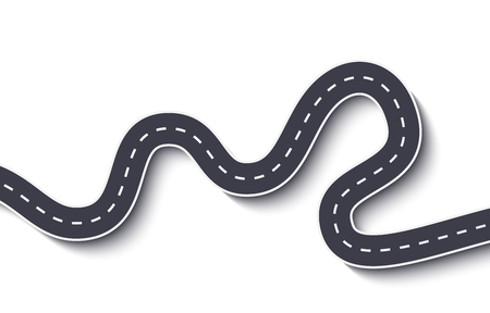 Winding Road on a White Isolated Background. Road way location infographic template 일러스트