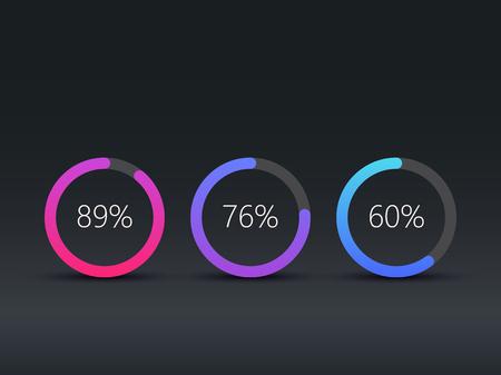 Pie charts infographic template, workflow, web design, UI elements