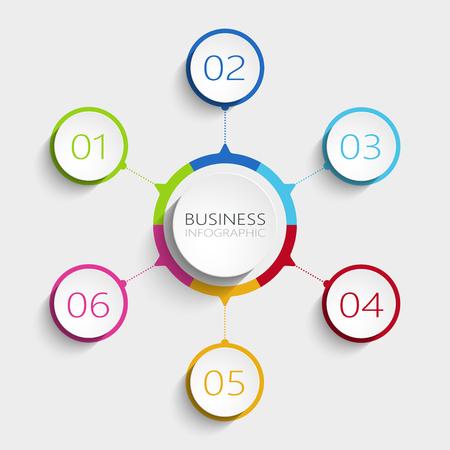 Plantilla de infografía 3D abstracto moderno con 6 pasos. Plantilla de círculo empresarial con opciones para folleto, diagrama, flujo de trabajo, línea de tiempo, diseño web