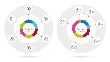 Modern infographic template pie charts with 6 steps. Business circle template with options for brochure, diagram, workflow, timeline, web design