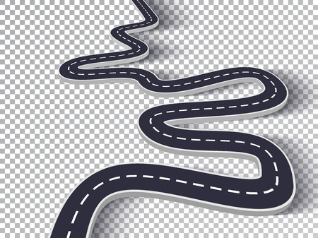 Winding Road Isolated Transparent Special Effect. Road way location infographic template Illustration