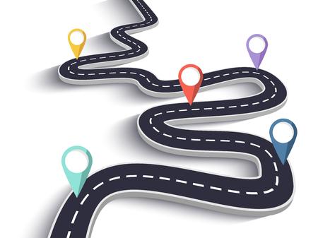 Camino sinuoso sobre un fondo blanco aislado. Plantilla de infografía de ubicación de camino de carretera con puntero de pin Ilustración de vector