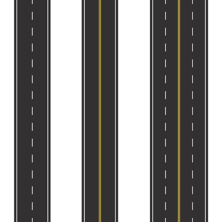 Set of Seamless Road Marking on a White Isolated Background. Top View. Straight Highway Infographic Templates