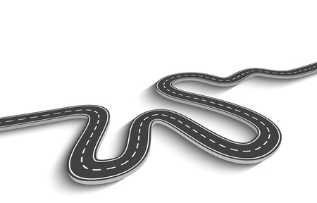 Route sinueuse sur fond blanc isolé. Modèle d'infographie de l'emplacement de la route Vecteurs