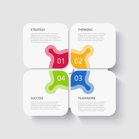 Modern 3D infographic template with 4 steps for success. Business square elements template with options for brochure, diagram, workflow, timeline, web design