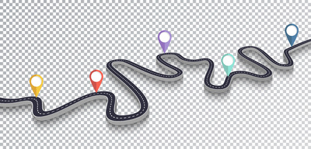 Winding Road Isolated Transparent Special Effect. Road way location infographic template  イラスト・ベクター素材