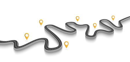 Route sinueuse sur fond blanc isolé. Modèle d'infographie de localisation de route avec pointeur Vecteurs