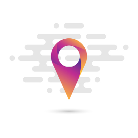Map pointer flat icon with a colorful gradient and a simple linear background