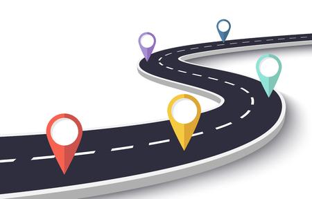 Kurvenreiche Straße auf einem weißen isolierten Hintergrund. Infografik-Vorlage für den Straßenwegort mit Stiftzeiger Vektorgrafik