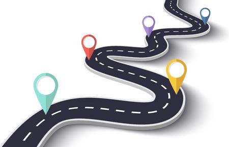격리 된 흰색 배경에 구불 구불 한도. 핀 포인터가있는 도로 방법 위치 infographic 템플릿