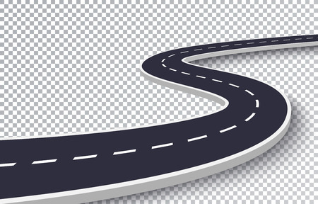 Winding Road Isolated Transparent Special Effect. Road way location infographic template Ilustração