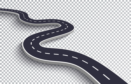 Winding Road Isolated Transparent Special Effect. Road way location infographic template 向量圖像