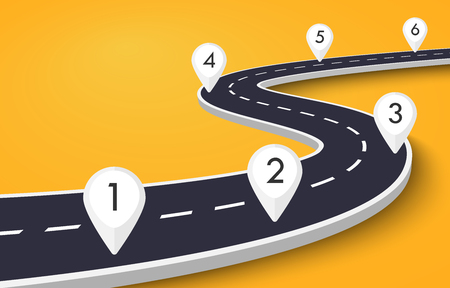 Winding Road on a Colorful Background. Road way location infographic template with pin pointer 일러스트