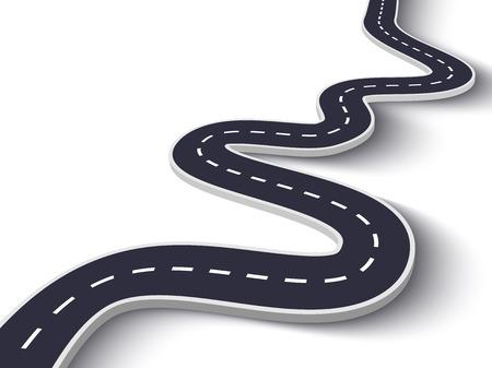 Kurvenreiche Straße auf einem weißen isolierten Hintergrund. Infografik-Vorlage für den Standort des Straßenwegs