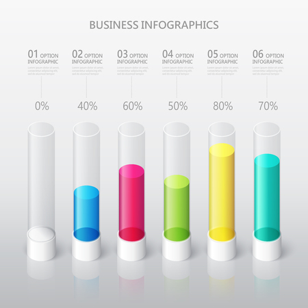 Modern abstract 3D cylindrical infographic template with six steps options. Business percentage graph template with options for brochure, diagram, workflow, timeline, web design Stock fotó - 106231424
