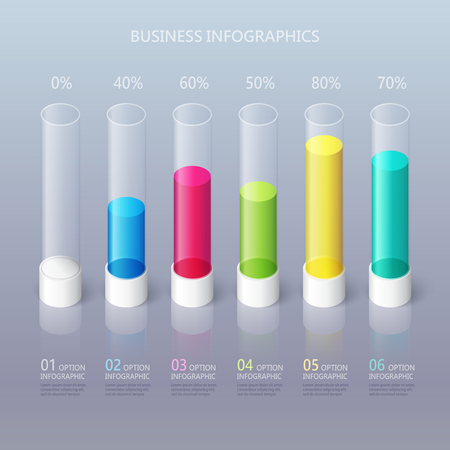 Modern abstract 3D cylindrical infographic template with six steps options. Business percentage graph template with options for brochure, diagram, workflow, timeline, web design