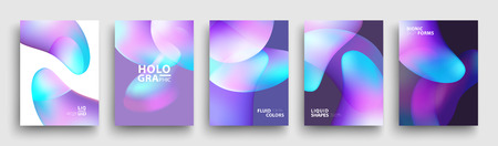 Modern Covers Template Design. Fluid colors. Set of Trendy Holographic Gradient shapes for Presentation, Magazines, Flyers, Annual Reports, Posters and Business Cards 스톡 콘텐츠 - 106231467