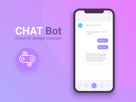 Clean Mobile UI Design Concept. Trendy Chatbot Application with Dialogue window. Sms Messenger