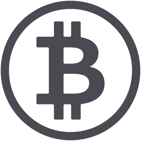 Bitcoin flat icon isolated on white background for using in web projects or mobile applications. Cryptocurrency round symbol