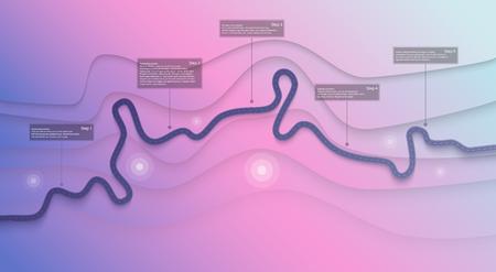 ロード マップのインフォグラフィックス テンプレート。曲がりくねった道路のタイムラインのイラスト。旅行・旅路 クリエイティブバナー 写真素材 - 106223403