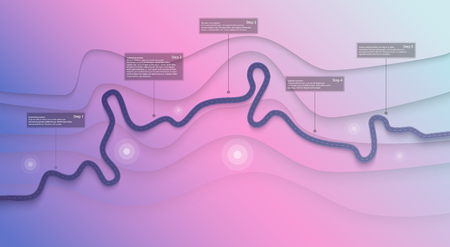 Road map infographics template. Winding road timeline illustration. Travel and Journey route creative banner