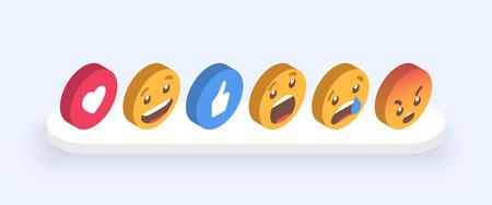 Abstract Isometric Set of Emoticons. Emoji flat style icons on white background Illusztráció