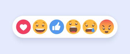 Abstract Set of Emoticons. Emoji flat style icons on white background