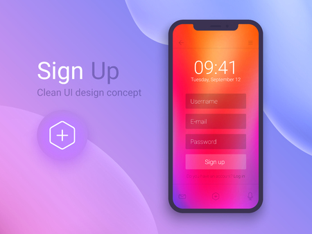 Sign Up Screen. Clean Mobile UI Design Concept. Application with Registration Form Window. Trendy Holographic Gradients. Flat Web Icons