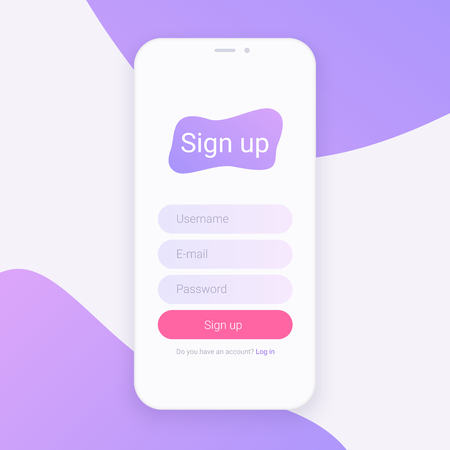 Sign Up Screen. Clean Mobile UI Design Concept. Application with Registration Form Window. Trendy Holographic Gradients. Flat Web Icons.