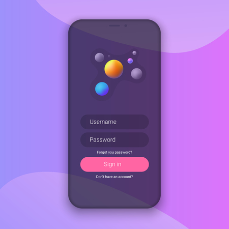 Sign In Screen. Clean Mobile UI Design Concept. Login Application with Password Form Window. Trendy Holographic Gradients Shapes. Flat Web Icons