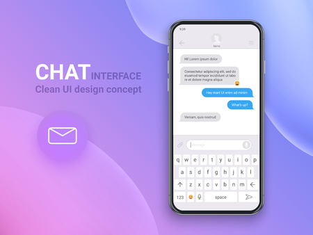 Chat Interface Application with Dialogue window. Clean Mobile UI Design Concept. Sms Messenger. Flat Web Icons