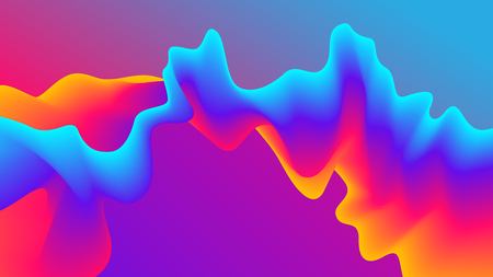 Abstract Gradient Wavy Background. Futuristic Paint Blend Effect. Fluid Shapes Template Design