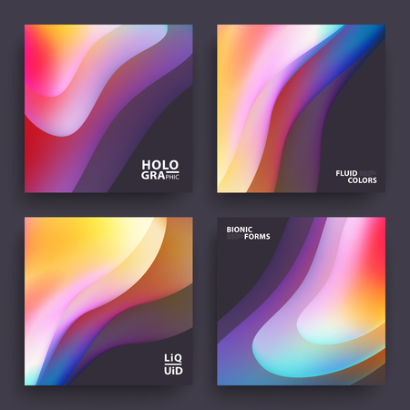Modern Covers Template Design. Fluid colors. Set of Trendy Holographic Gradient shapes for Presentation, Magazines, Flyers, Annual Reports, Posters and Business Cards