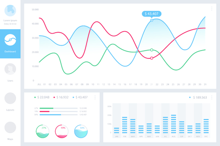 Dashboard infographic template with modern design annual statistics graphs. Pie charts, workflow, web design, UI elements