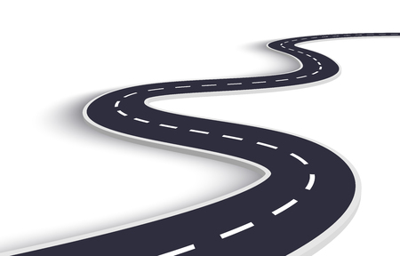 Winding Road on a White Isolated Background. Road way location infographic template  イラスト・ベクター素材
