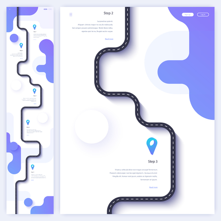 Road trip and journey route homepage concept. Minimal landing page template. Flat vector illustration