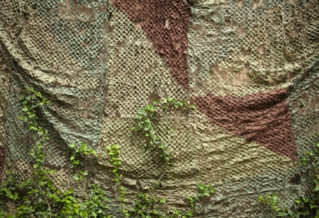 Old wall with camouflage net Stock Photo