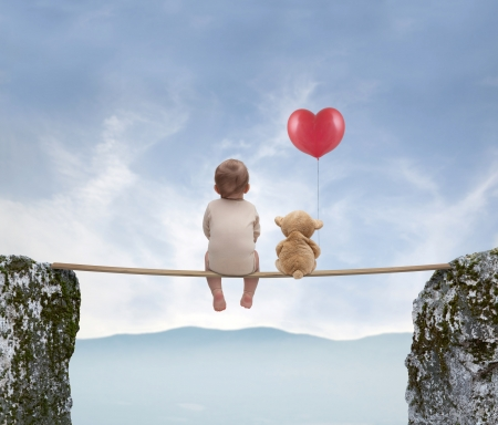 little boy and teddy bear Stock Photo