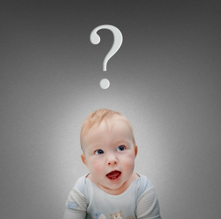 health questions: baby with a question mark Stock Photo