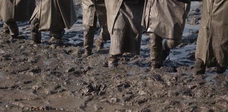 miry: fishermen working in the mud
