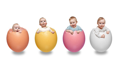 easter boys in eggs