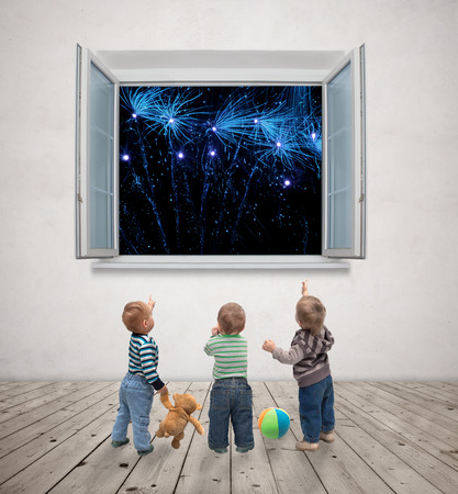 little kids watching fireworks Stock Photo - 27490652