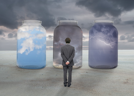 observes: concept of man observes various weather Stock Photo