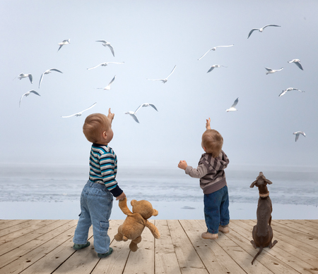 small children watching  of birds Stock Photo