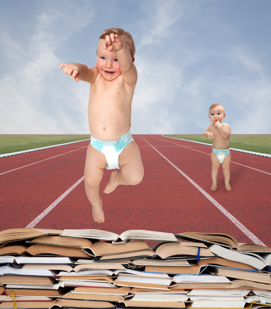 baby jumps an obstacle books
