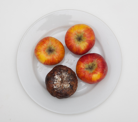 three beautiful apples and one moldy on a plate Stock Photo