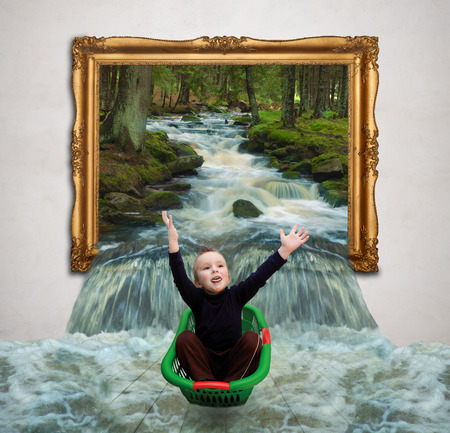 The child sails on the water that flows from the painting in the gallery