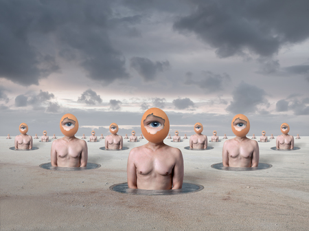 Artistic surreal picture with eggmans
