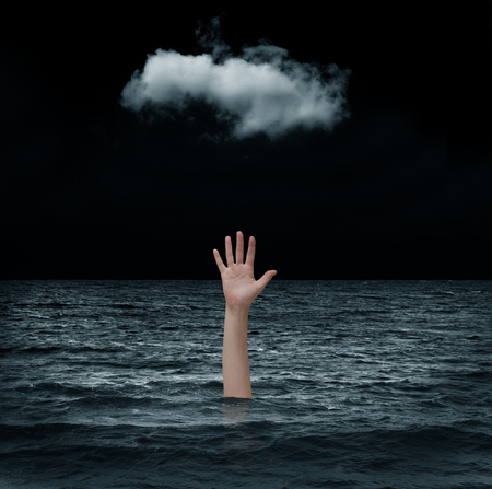 Drowning man in the sea
